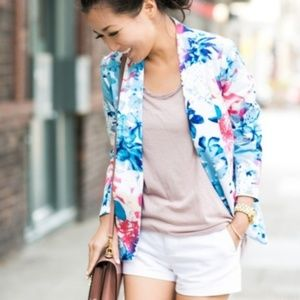 Mossimo pink blue white pink floral blazer S/P